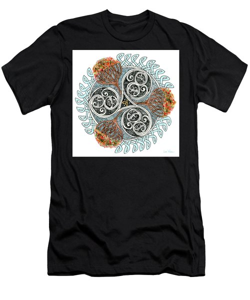 Men's T-Shirt (Athletic Fit) featuring the drawing Celtic Knot With Autumn Trees by Lise Winne