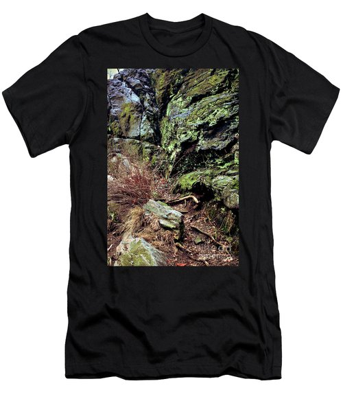 Men's T-Shirt (Slim Fit) featuring the photograph Central Park Rock Formation by Sandy Moulder
