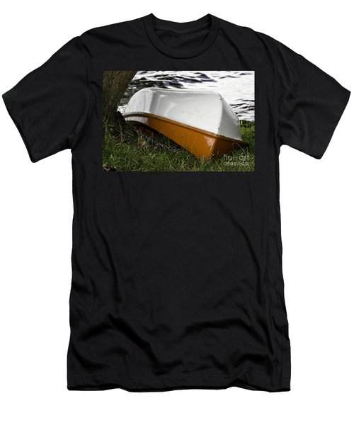 Men's T-Shirt (Slim Fit) featuring the photograph Chained Little Boat Just Waiting by Yurix Sardinelly