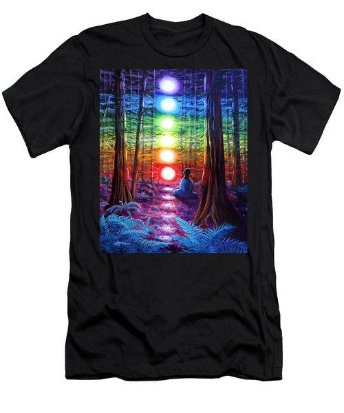 Chakra Meditation In The Redwoods Men's T-Shirt (Slim Fit) by Laura Iverson