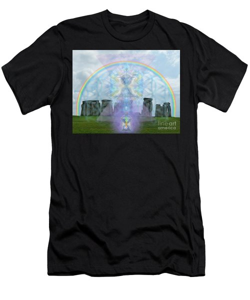 Chalice Over Stonehenge In Flower Of Life And Man Men's T-Shirt (Athletic Fit)