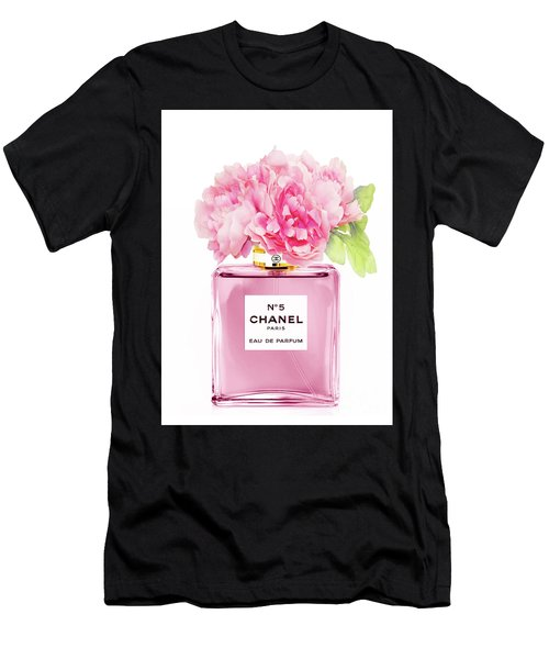 Chanel N5 Pink With Flowers Men's T-Shirt (Athletic Fit)