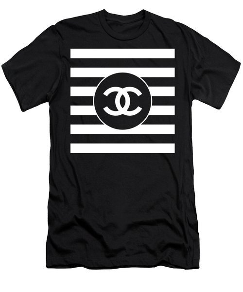 Chanel - Stripe Pattern - Black And White 2 - Fashion And Lifestyle Men's T-Shirt (Athletic Fit)