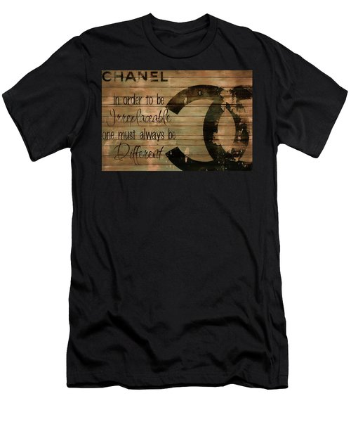 Chanel Wood Panel Rustic Quote Men's T-Shirt (Athletic Fit)