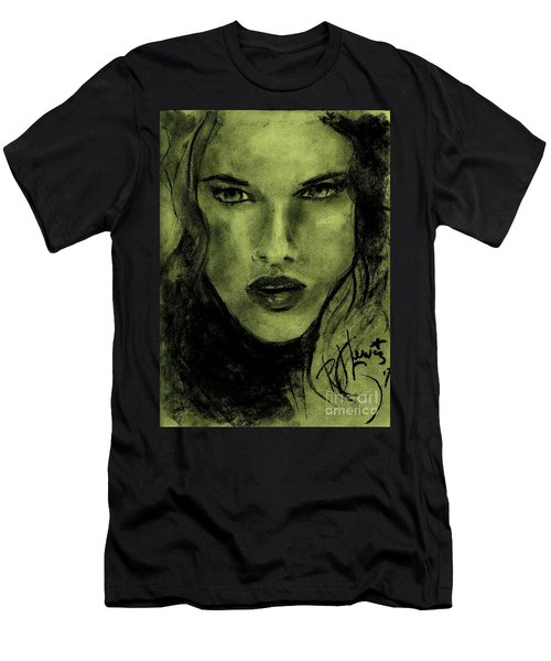 Men's T-Shirt (Slim Fit) featuring the drawing char-Carol by P J Lewis