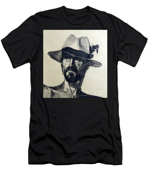Charcoal Portrait Of A Man Wearing A Summer Hat Men's T-Shirt (Athletic Fit)