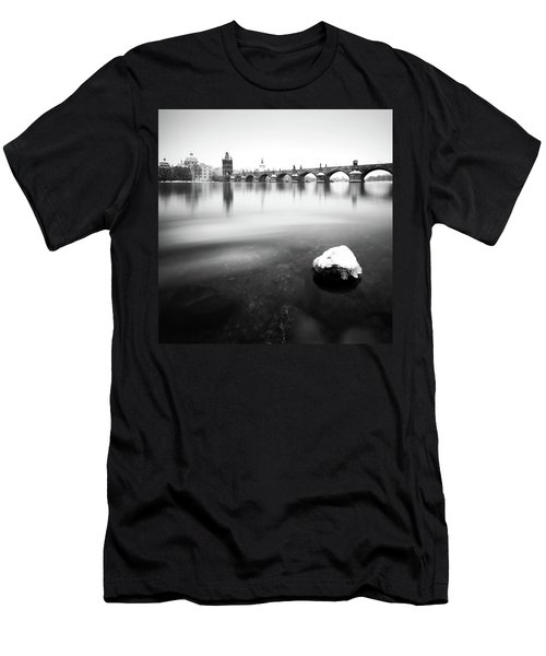 Charles Bridge During Winter Time With Frozen River, Prague, Czech Republic Men's T-Shirt (Athletic Fit)