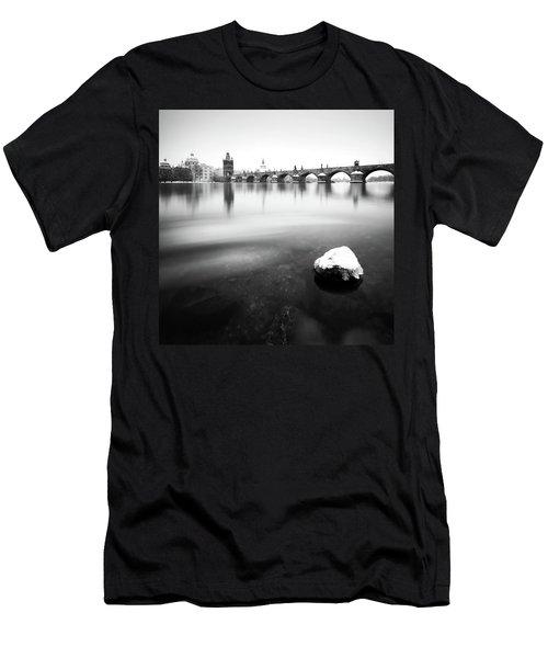 Charles Bridge During Winter Time With Frozen River, Prague, Czech Republic Men's T-Shirt (Athletic Fit)