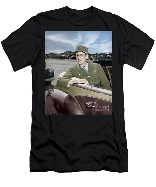 Charles De Gaulle Of France In New York Men's T-Shirt (Athletic Fit)