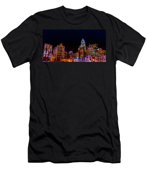 Charlotte Skyline At Night Men's T-Shirt (Athletic Fit)