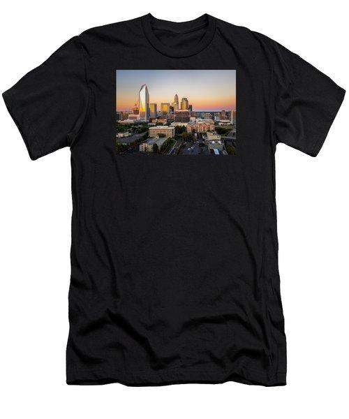 Charlotte Skyline At Sunset Men's T-Shirt (Slim Fit) by Serge Skiba