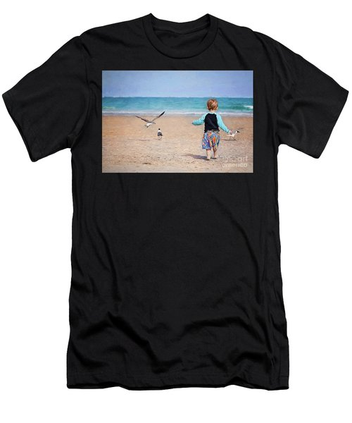 Chasing Birds On The Beach Men's T-Shirt (Athletic Fit)