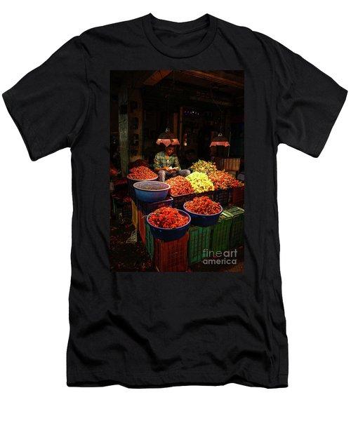 Men's T-Shirt (Slim Fit) featuring the photograph Cheannai Flower Market Colors by Mike Reid