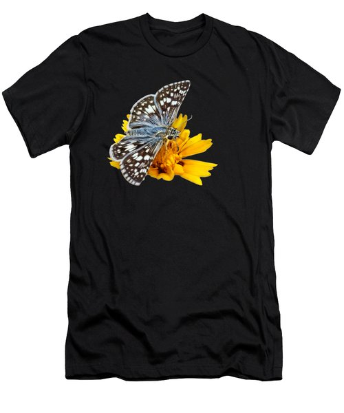 Checkered Skipper - Square - Transparent Men's T-Shirt (Slim Fit) by Nikolyn McDonald
