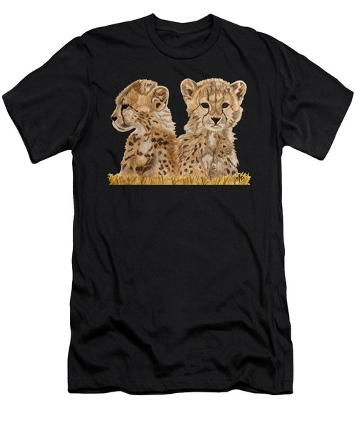 Men's T-Shirt (Athletic Fit) featuring the painting Cheetah Cubs by Angeles M Pomata
