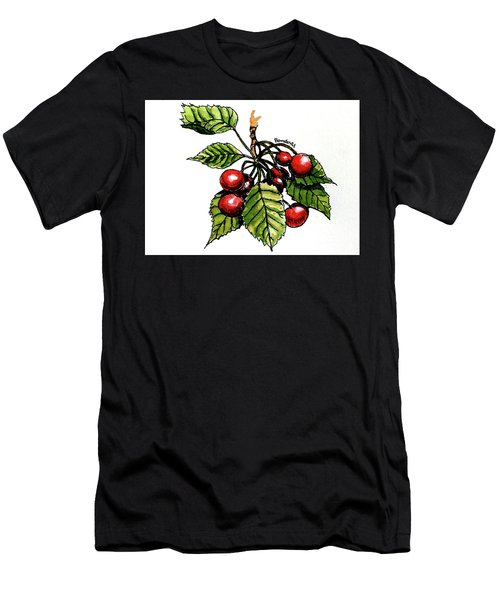 Men's T-Shirt (Slim Fit) featuring the painting Cherries by Terry Banderas