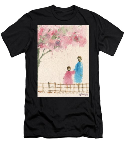 Cherry Blossom Tree Over The Bridge Men's T-Shirt (Athletic Fit)