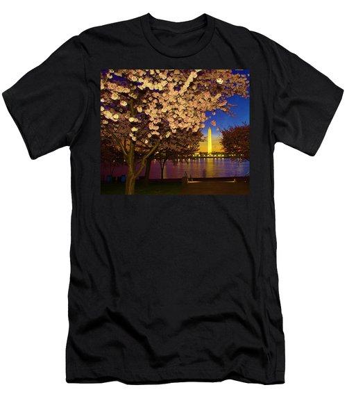 Cherry Blossom Washington Monument Men's T-Shirt (Athletic Fit)