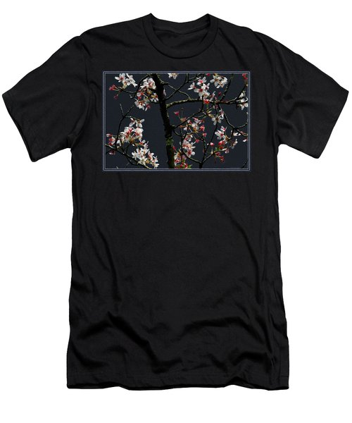 Cherry Blossoms On Dark Bkgrd Men's T-Shirt (Athletic Fit)