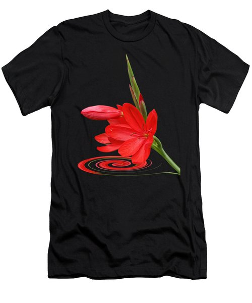 Chic - Ritzy Red Lily Men's T-Shirt (Slim Fit) by Gill Billington