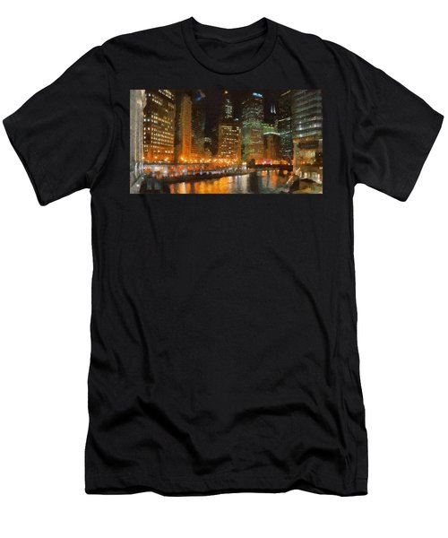 Chicago At Night Men's T-Shirt (Athletic Fit)