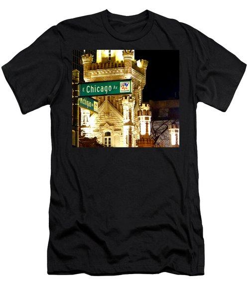 Chicago Avenue  Men's T-Shirt (Slim Fit) by Elizabeth Coats