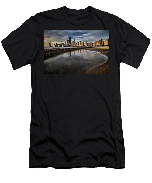 Chicago Beach And Skyline With A Person For Scale Men's T-Shirt (Athletic Fit)