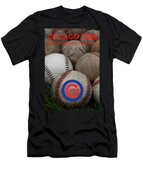 Chicago Cubs World Series Poster Men's T-Shirt (Slim Fit) by David Patterson