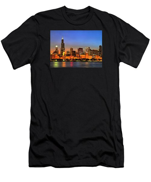 Men's T-Shirt (Slim Fit) featuring the digital art Chicago Dusk by Charmaine Zoe