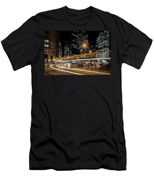 Chicago Nighttime Time Exposure Men's T-Shirt (Athletic Fit)