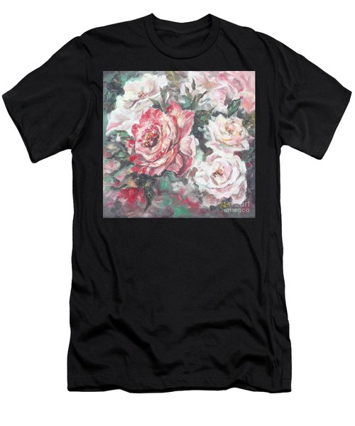 Men's T-Shirt (Athletic Fit) featuring the painting Chicago Peace And Seduction Roses by Ryn Shell