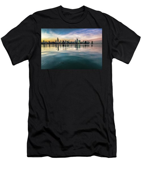 Chicago Skyline And Fish At Dusk Men's T-Shirt (Athletic Fit)