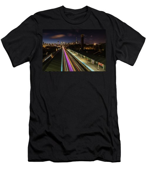 Chicago Skyline And Train Lights Men's T-Shirt (Athletic Fit)