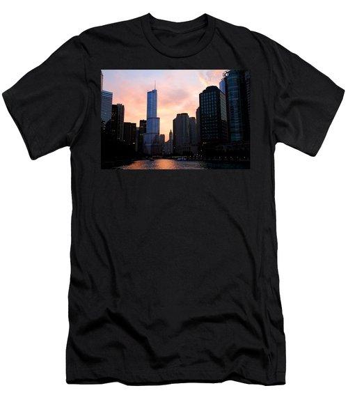 Chicago Skyline At Dusk Men's T-Shirt (Athletic Fit)
