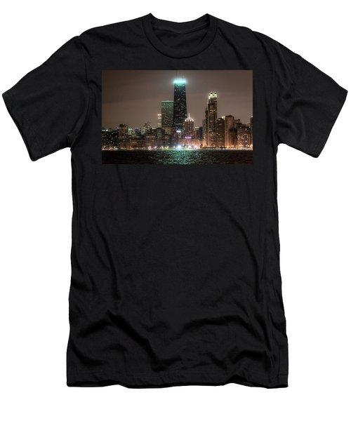 Chicago Skyline At Night North Ave Beach V2 Dsc1732 Men's T-Shirt (Slim Fit) by Raymond Kunst