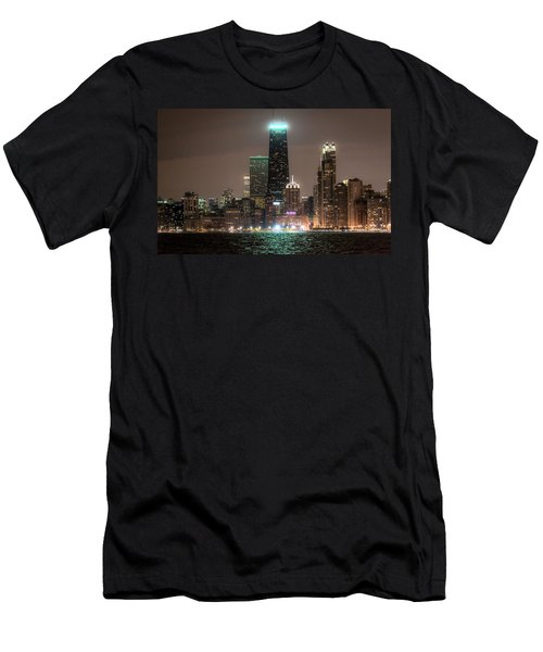 Chicago Skyline At Night North Ave Beach V2 Dsc1732 Men's T-Shirt (Athletic Fit)