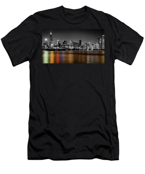 Chicago Skyline - Black And White With Color Reflection Men's T-Shirt (Athletic Fit)