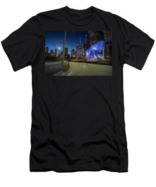 Chicago Skyline Form Maggie Daley Park At  Dusk Men's T-Shirt (Athletic Fit)