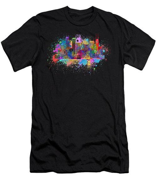 Chicago Skyline Paint Splatter Illustration Men's T-Shirt (Athletic Fit)