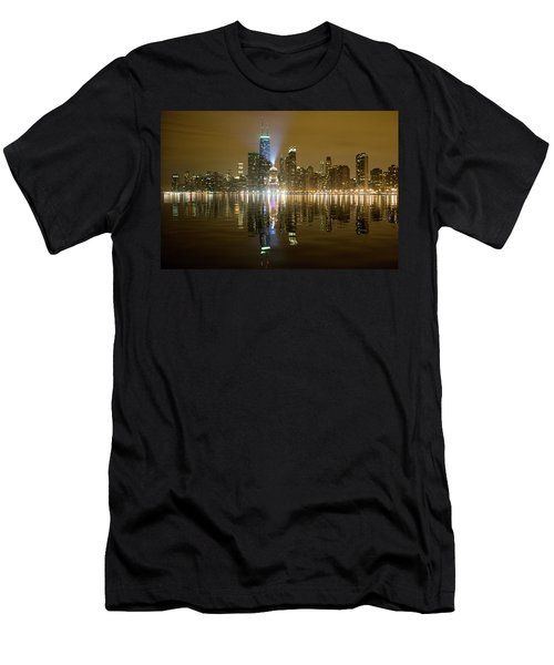 Chicago Skyline With Lindbergh Beacon On Palmolive Building Men's T-Shirt (Athletic Fit)