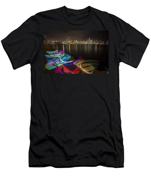 Chicago Skyline With Pixel Stick Painting Men's T-Shirt (Athletic Fit)