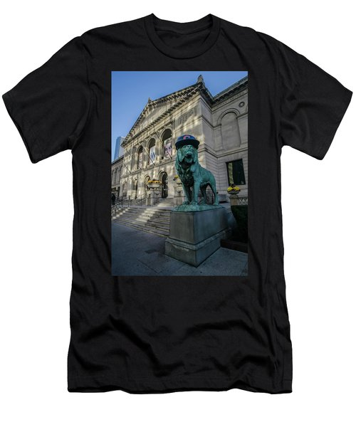 Chicago's Art Institute With Cubs Hat Men's T-Shirt (Athletic Fit)