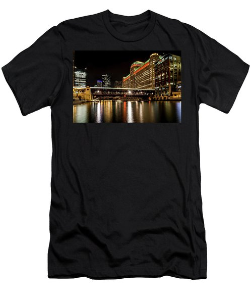 Chicago's Merchandise Mart At Night Men's T-Shirt (Athletic Fit)