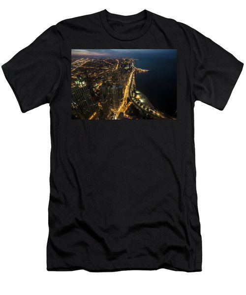 Chicago's North Side From Above At Night  Men's T-Shirt (Athletic Fit)