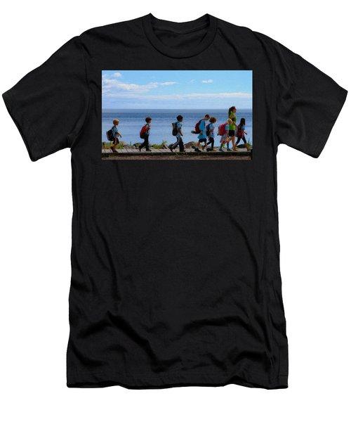 Children On Lake Walk Men's T-Shirt (Athletic Fit)