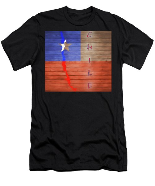 Chile Rustic Map On Wood Men's T-Shirt (Athletic Fit)