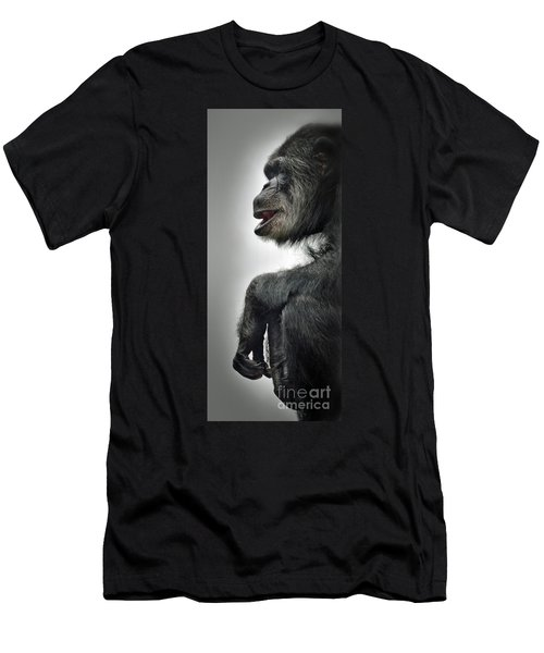 Chimpanzee Profile Vignetee Effect Men's T-Shirt (Athletic Fit)