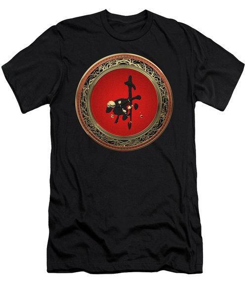 Chinese Zodiac - Year Of The Goat On Black Velvet Men's T-Shirt (Athletic Fit)