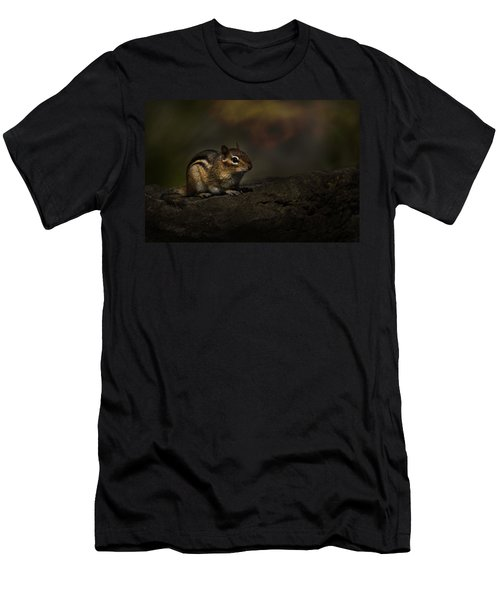 Men's T-Shirt (Slim Fit) featuring the photograph Chipmunk On Rock by Michael Cummings