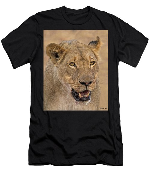 Men's T-Shirt (Athletic Fit) featuring the digital art Chobe Lioness by Larry Linton